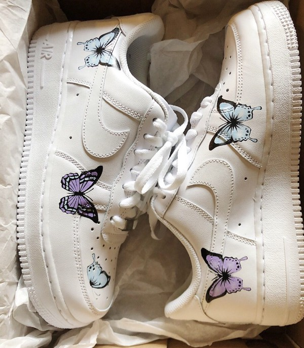 shoes sneakers nike's air force 1 butterfly