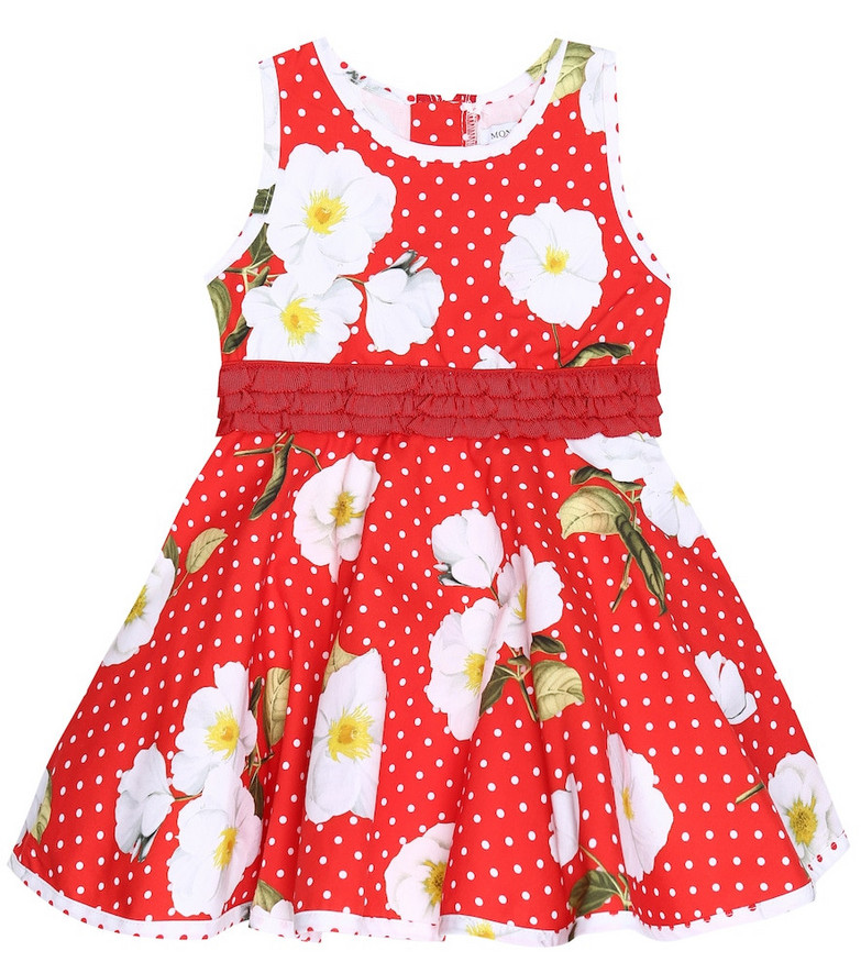 Monnalisa Baby printed cotton dress in red