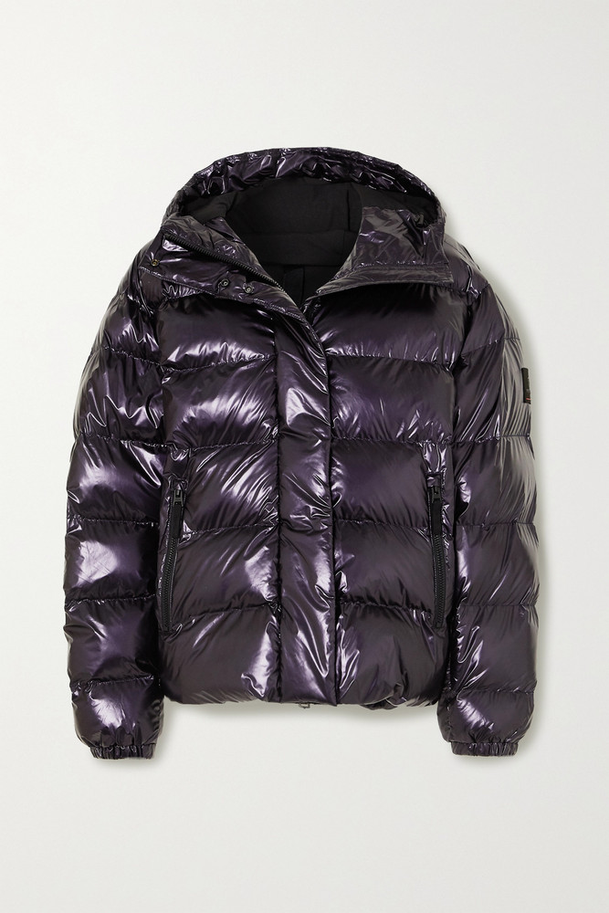 BOGNER FIRE+ICE BOGNER FIRE+ICE - Ranja Oversized Cropped Hooded Metallic Quilted Ski Jacket - Purple