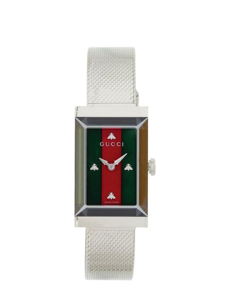 GUCCI New G-frame Steel Mesh Bracelet Watch in silver