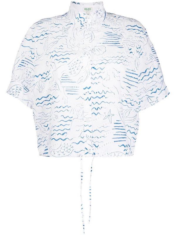Kenzo ocean-print eyelet lace blouse in white