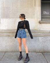 top,crop tops,black top,denim shorts,High waisted shorts,shoes,louis vuitton bag