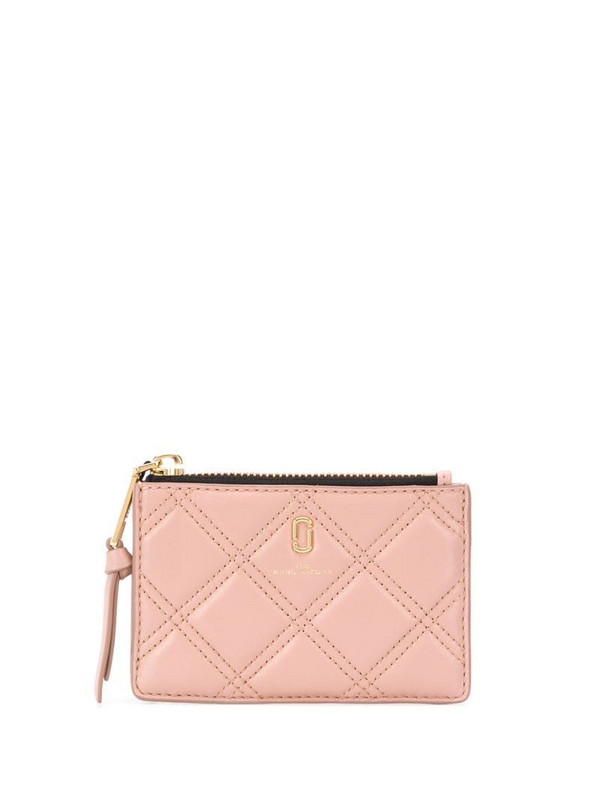 Marc Jacobs The Quilted Softshot top zip multi wallet in neutrals