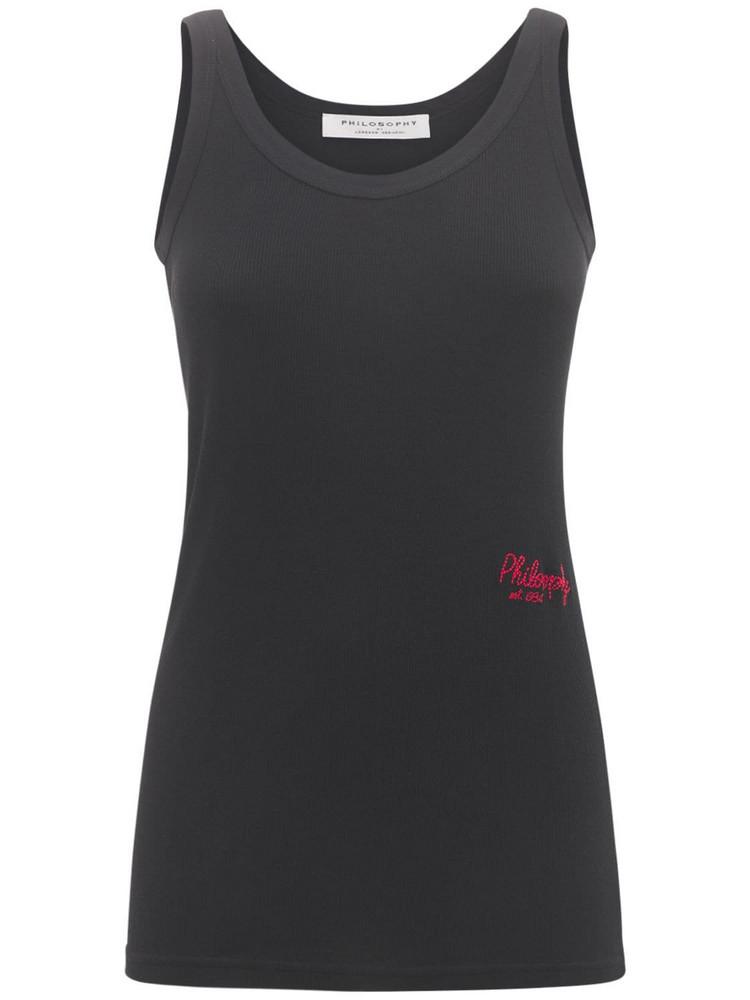 PHILOSOPHY DI LORENZO SERAFINI Logo Ribbed Cotton Jersey Tank Top in black