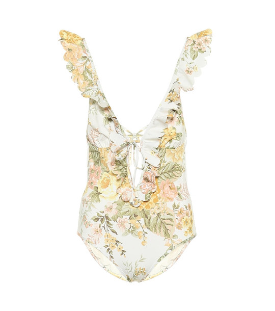 Zimmermann Amelie floral swimsuit in white