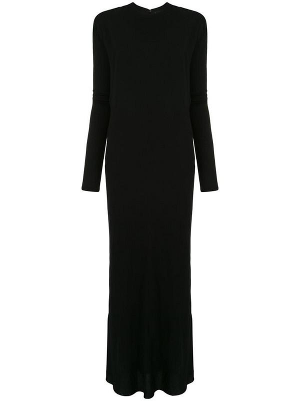 Haider Ackermann puffed sleeve draped dress in black