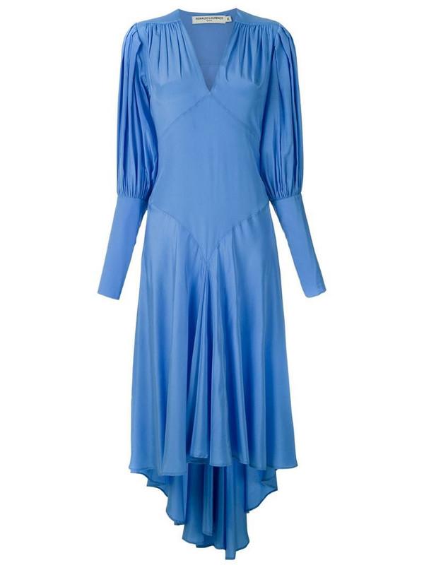 Reinaldo Lourenço silk midi dress in blue