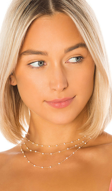 joolz by Martha Calvo Pearl Triple Choker in Metallic Gold