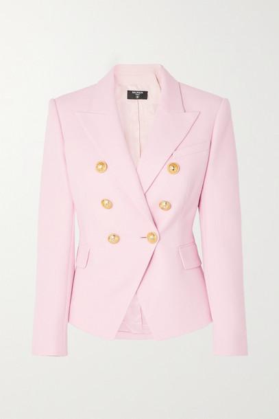 Balmain - Double-breasted Cotton-piqué Blazer - Pink