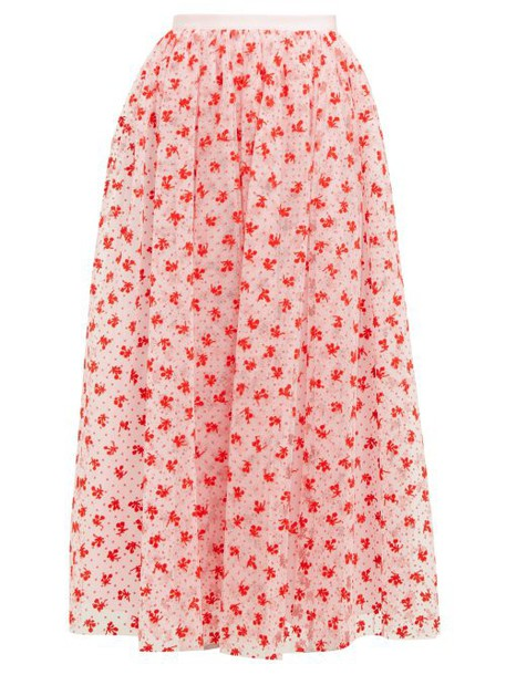 Erdem - Lindie Floral Flocked Tulle Maxi Skirt - Womens - Pink Multi