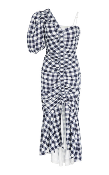 Jonathan Simkhai One-Shoulder Ruched Gingham Twill Midi Dress Size: 4