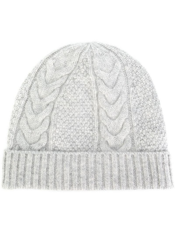 N.Peal cable knit beanie in grey