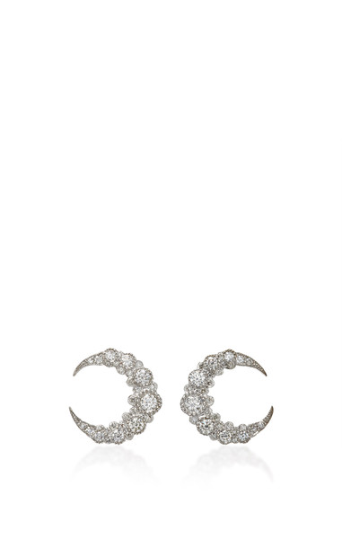 Colette Jewelry Baby Moon 18K White Gold and Diamond Earrings in silver