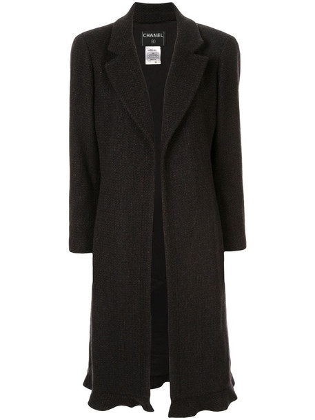Chanel Pre-Owned cashmere midi open coat in black
