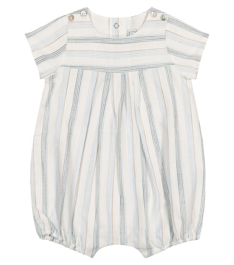Tartine et Chocolat Baby striped cotton playsuit in white