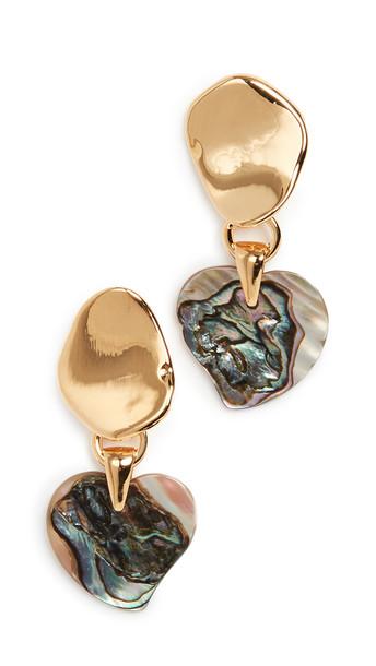 Lizzie Fortunato Abalone Heart Earrings in gold / multi