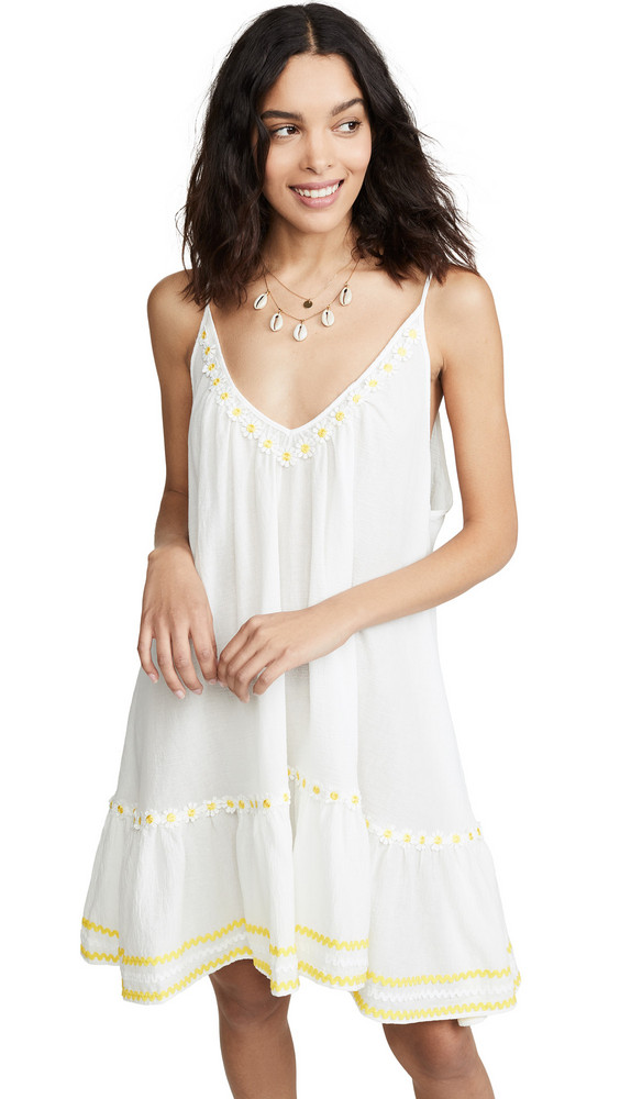 9seed Daisy Embroidered St. Tropez Dress in white / yellow