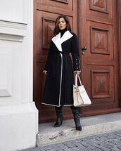 coat,black coat,black boots,white bag,black turtleneck top,tory burch