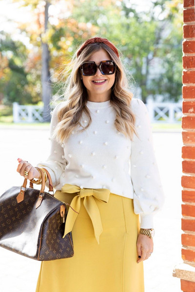 suburban faux-pas blogger sweater skirt sunglasses shoes jewels bag louis vuitton bag yellow skirt white sweater fall outfits