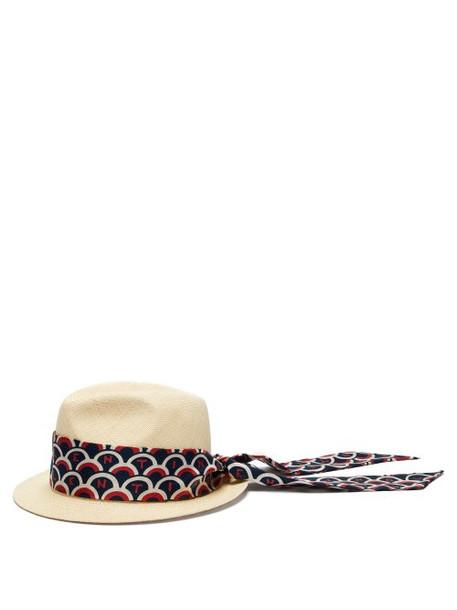 hat straw hat print blue