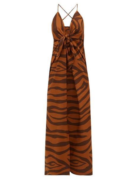 Mara Hoffman - Lolita Tie-front Tiger-print Cotton Dress - Womens - Brown Print