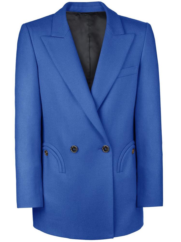 BLAZÉ MILANO Palmira Double Breasted Wool Blazer in blue