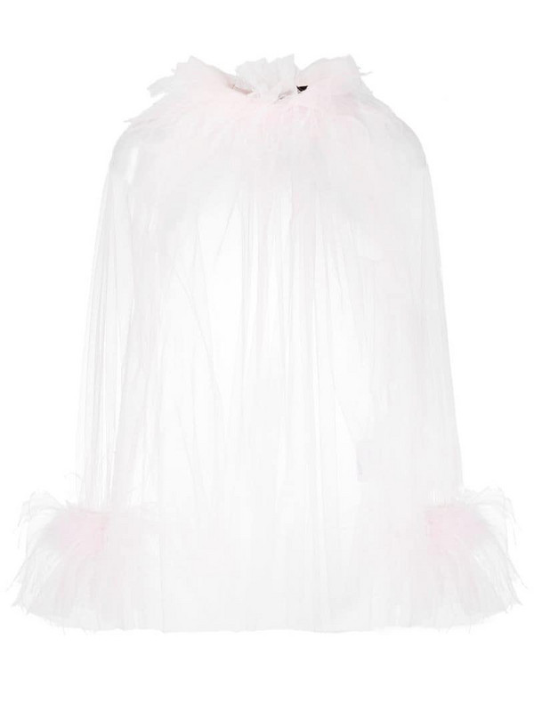 Styland feather-trim draped blouse in pink