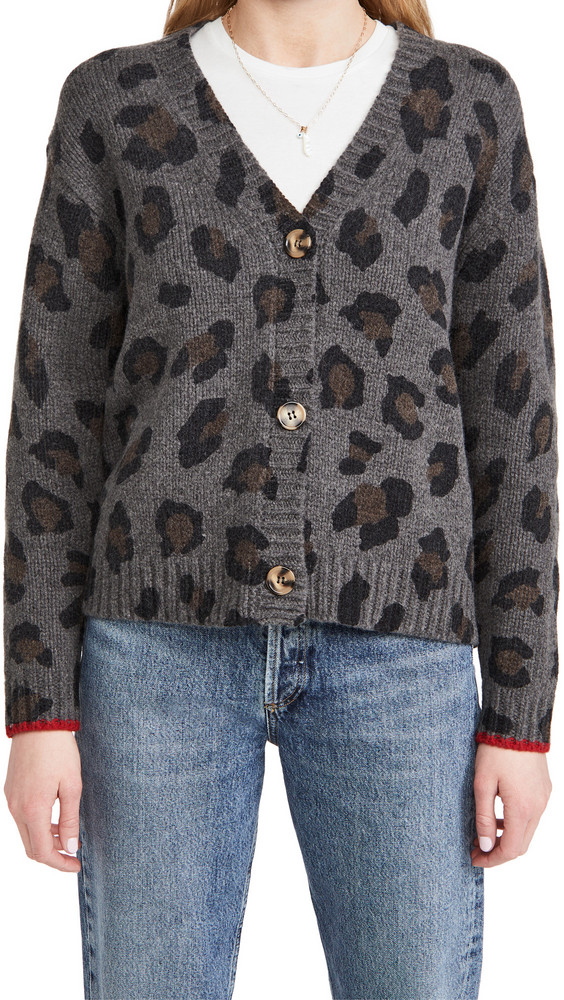 SUNDRY Leopard Boxy Cardigan in charcoal