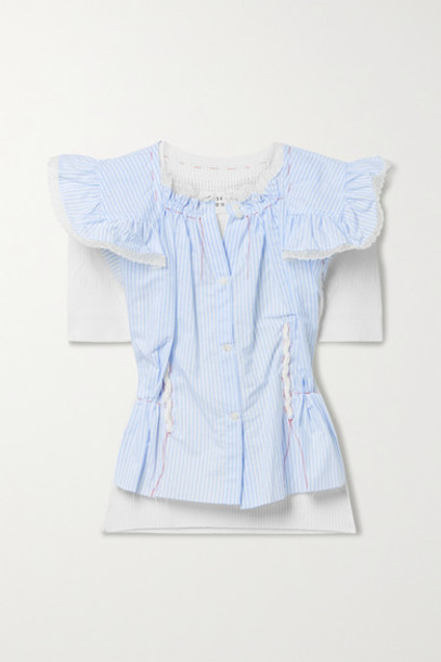 Maison Margiela - Layered Lace-trimmed Striped Voile And Pointelle-knit Cotton Top - Blue