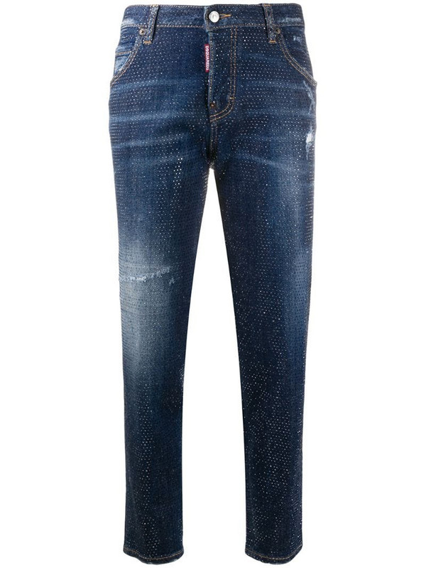 Dsquared2 studded cropped skinny-fit jeans in blue
