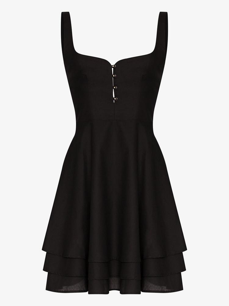 Esteban Cortazar tiered button cotton dress in black