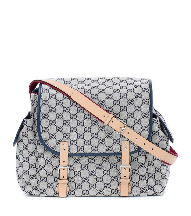 Gucci Kids GG leather-trimmed changing bag in blue