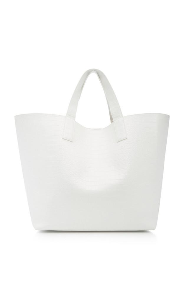 Studio Amelia Croc-Effect Vegan Leather Tote Bag in white