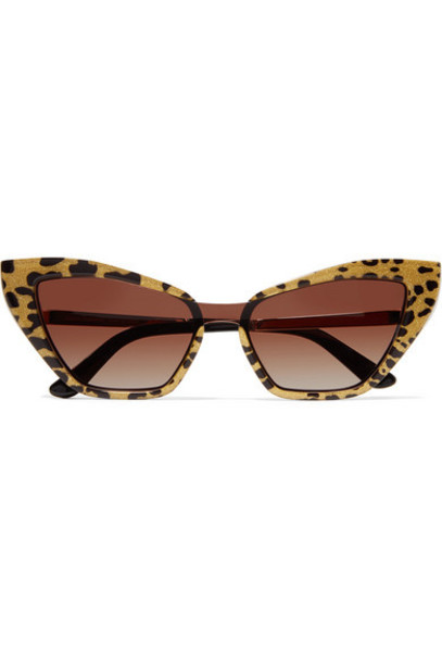 Dolce & Gabbana - Cat-eye Glittered Leopard-print Acetate And Gold-tone Sunglasses - Leopard print