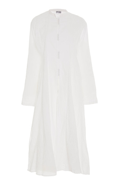 Juliet Dunn Long Embroidered Cotton Coat in white