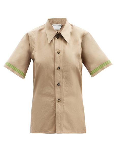 Bottega Veneta - Striped-cuff Short-sleeved Cotton-poplin Shirt - Womens - Beige