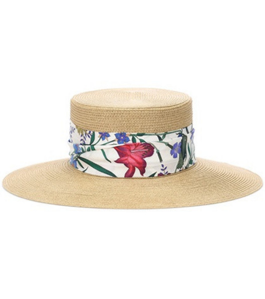 Gucci Woven hat with New Flora ribbon in neutrals
