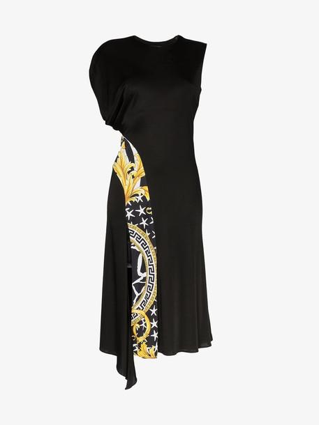 Versace Savage Baroque stripe midi dress in black