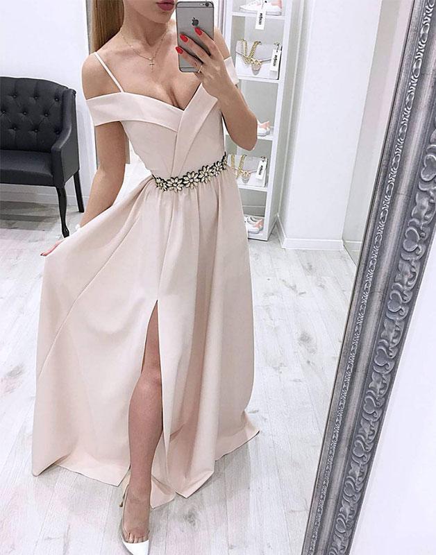 Simple off shoulder long prom dress, evening dress