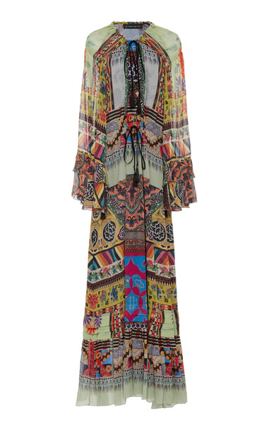 Etro Patterned Silk-Georgette Maxi Dress Size: 42 in multi