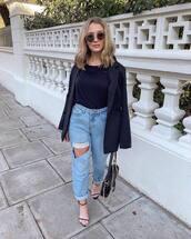 jeans,mom jeans,high waisted jeans,ripped jeans,black sandals,black bag,black top,black blazer