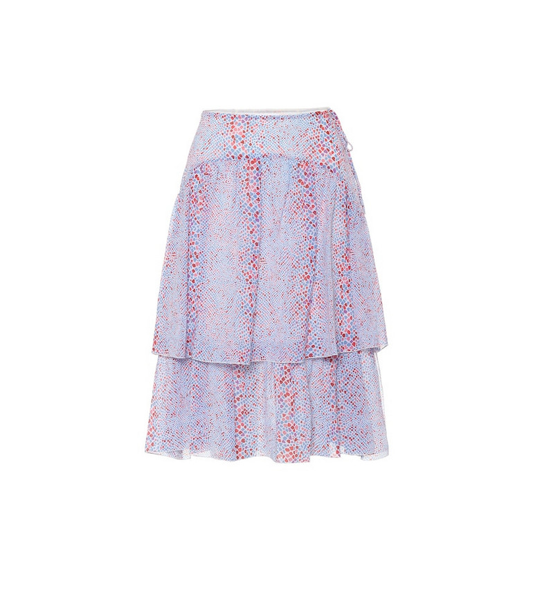 See By Chloé Printed cotton and silk midi skirt in blue
