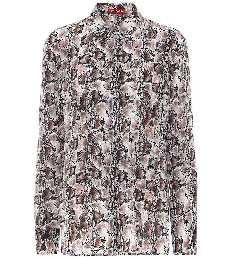 Altuzarra Chika snake-print silk blouse in brown