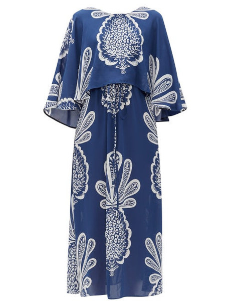La DoubleJ - Bain Douche Pineapple-print Georgette Dress - Womens - Blue Print