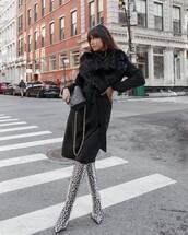 scarf,fur scarf,knee high boots,snake print,heel boots,black coat,black bag