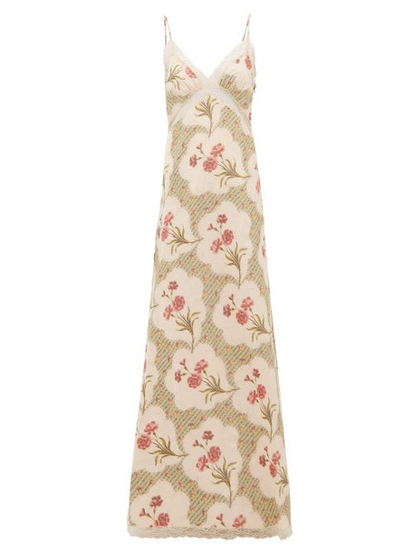 Brock Collection - Onorino Floral Print Cotton Blend Gown - Womens - Beige Multi