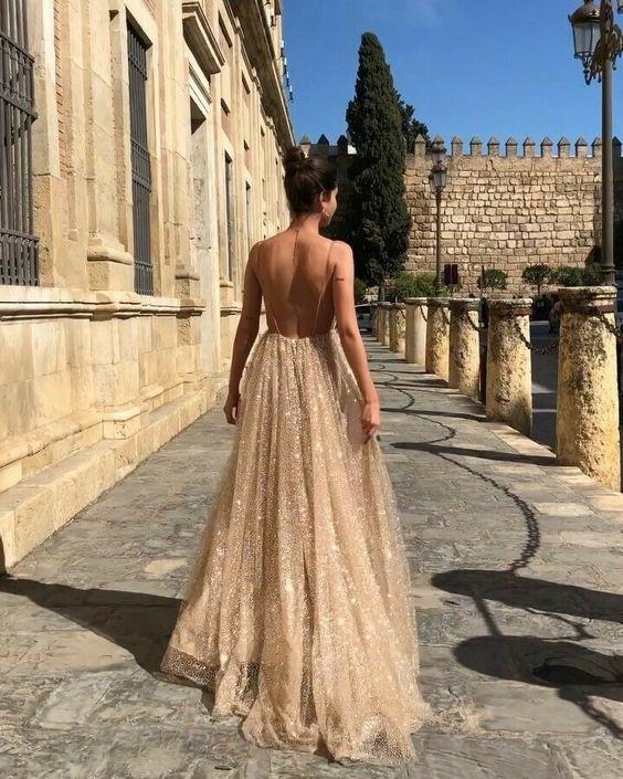 dress long dress formal dress prom dress gold dress backless dress champagne prom dress