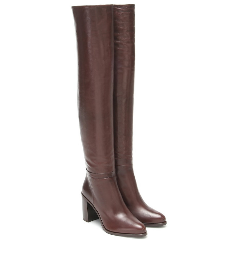 Prada Leather over-the-knee boots in brown