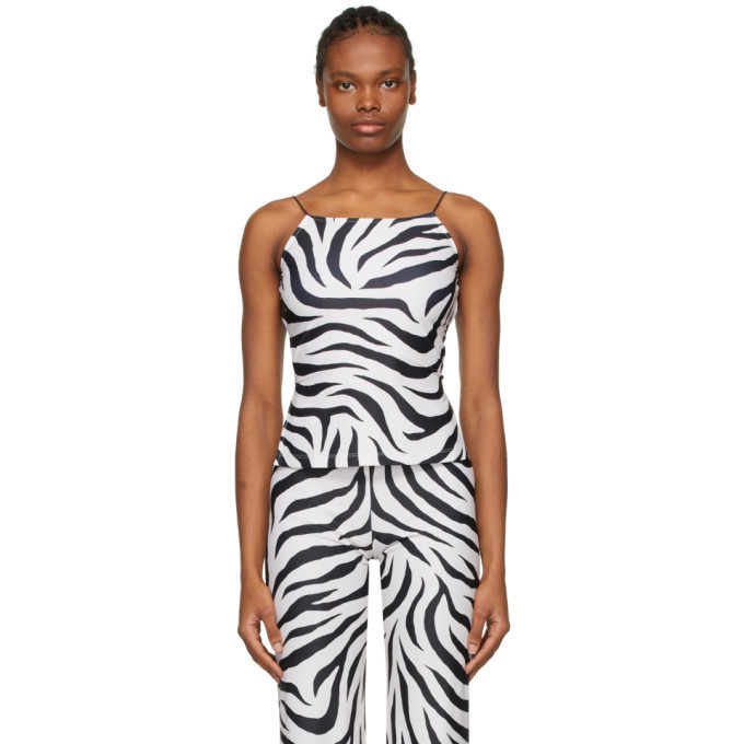 Maryam Nassir Zadeh SSENSE Exclusive White and Black Thea Tank Top in print