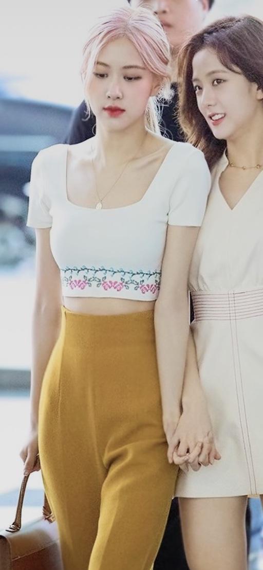 shirt white crop tops rose blackpink